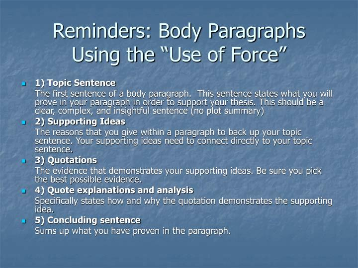 Reminders: Body Paragraphs