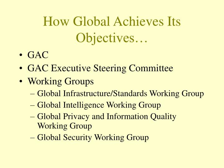 How Global Achieves Its Objectives…