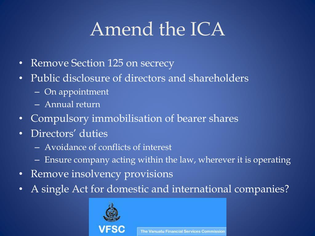 Amend the ICA