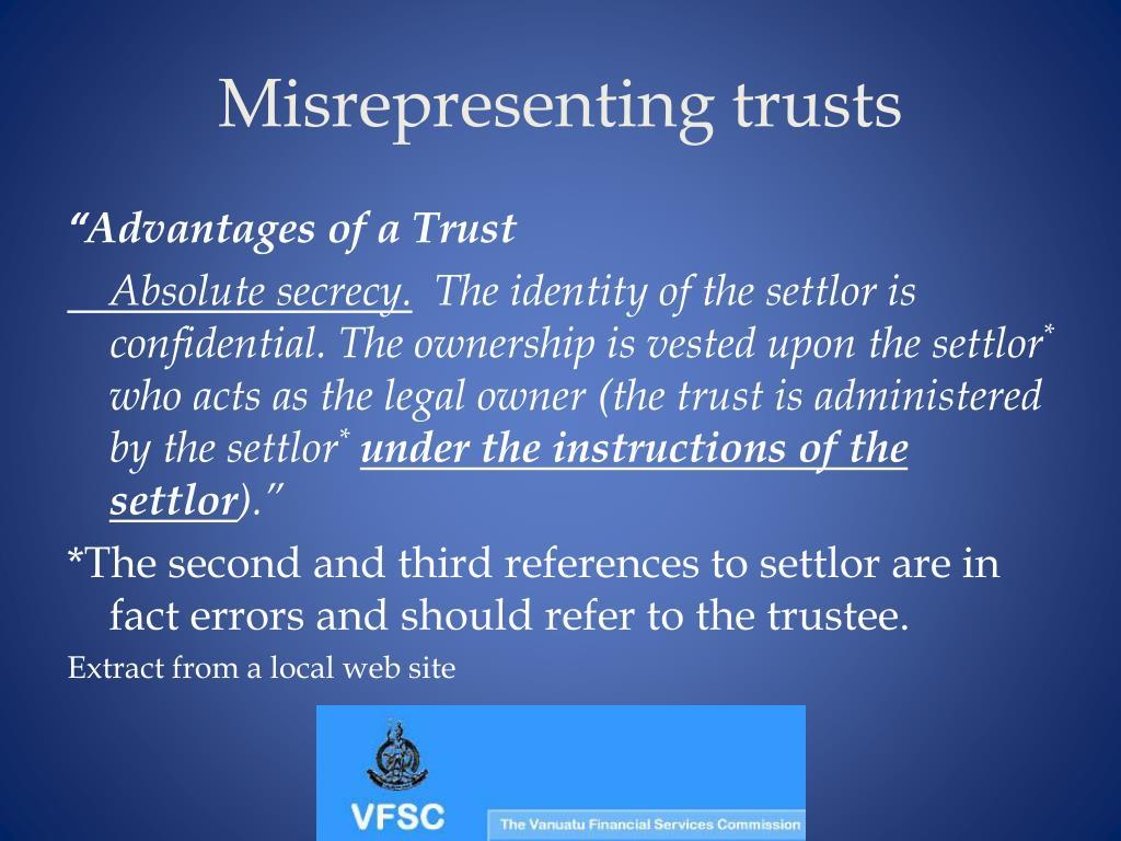 Misrepresenting trusts