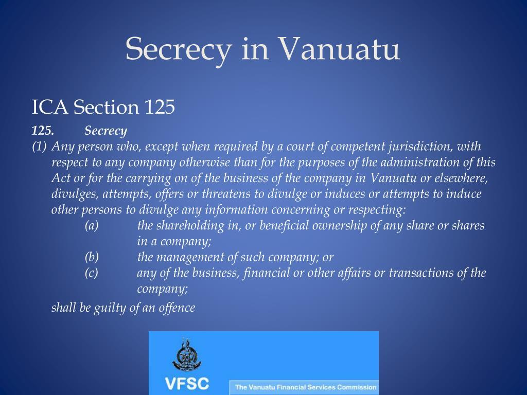 Secrecy in Vanuatu