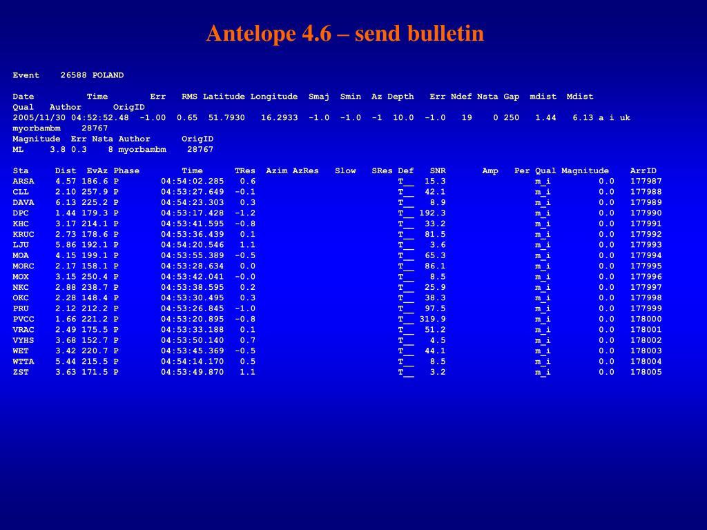 Antelope 4.6 – send bulletin