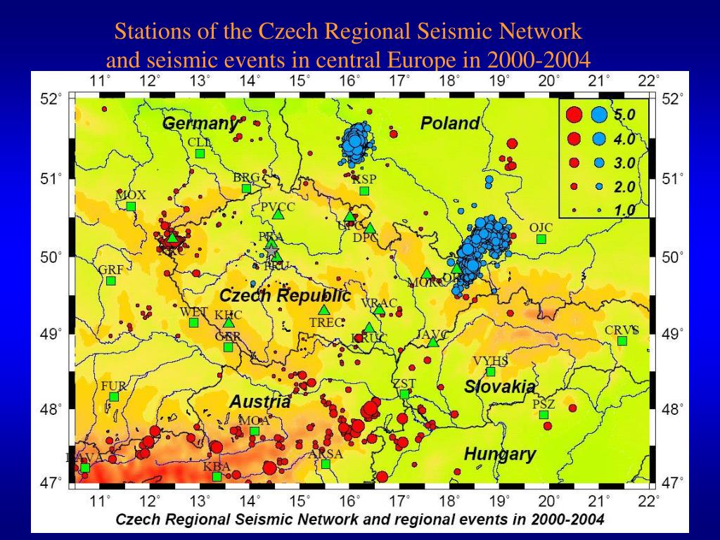 Stations of the Czech Regional Seismic Network and seismic events in central Europe in 2000-2004