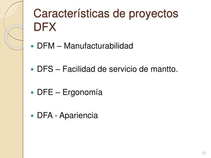 Características de proyectos