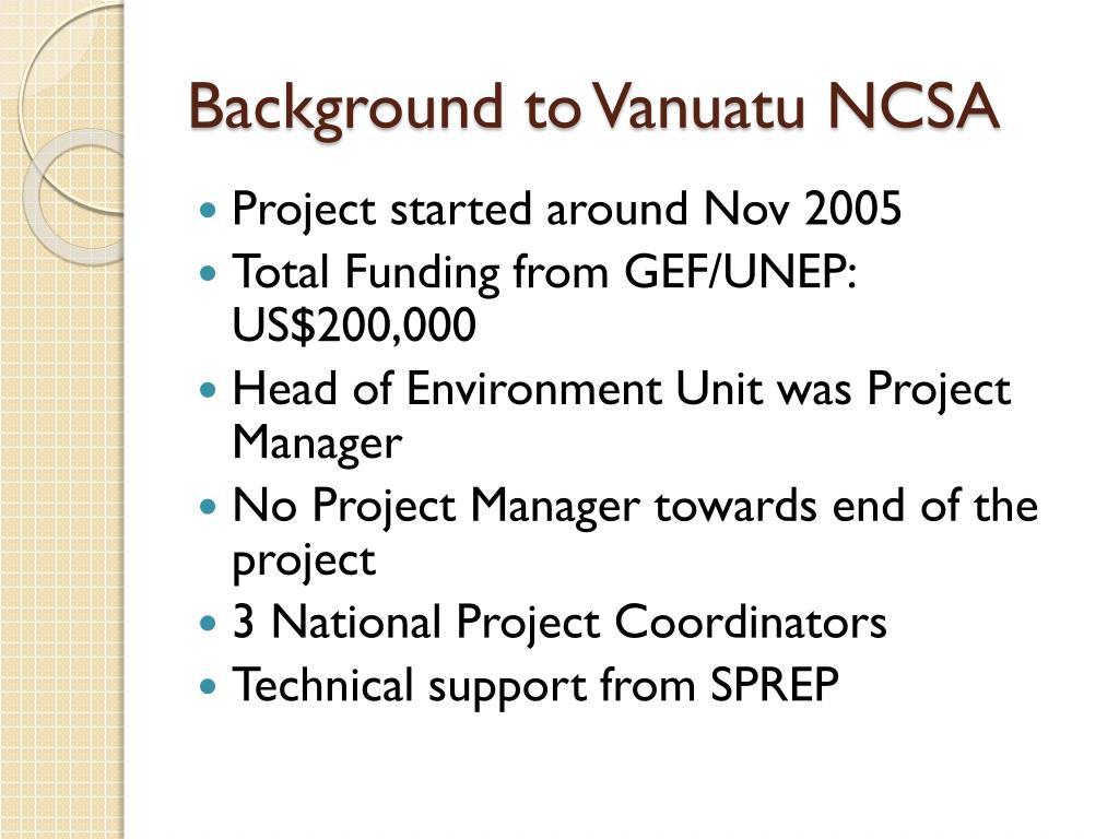 Background to Vanuatu NCSA