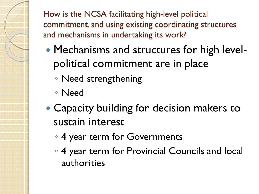 How is the NCSA facilitating high-level political commitment, and using existing coordinating structures and mechanisms in undertaking its work?