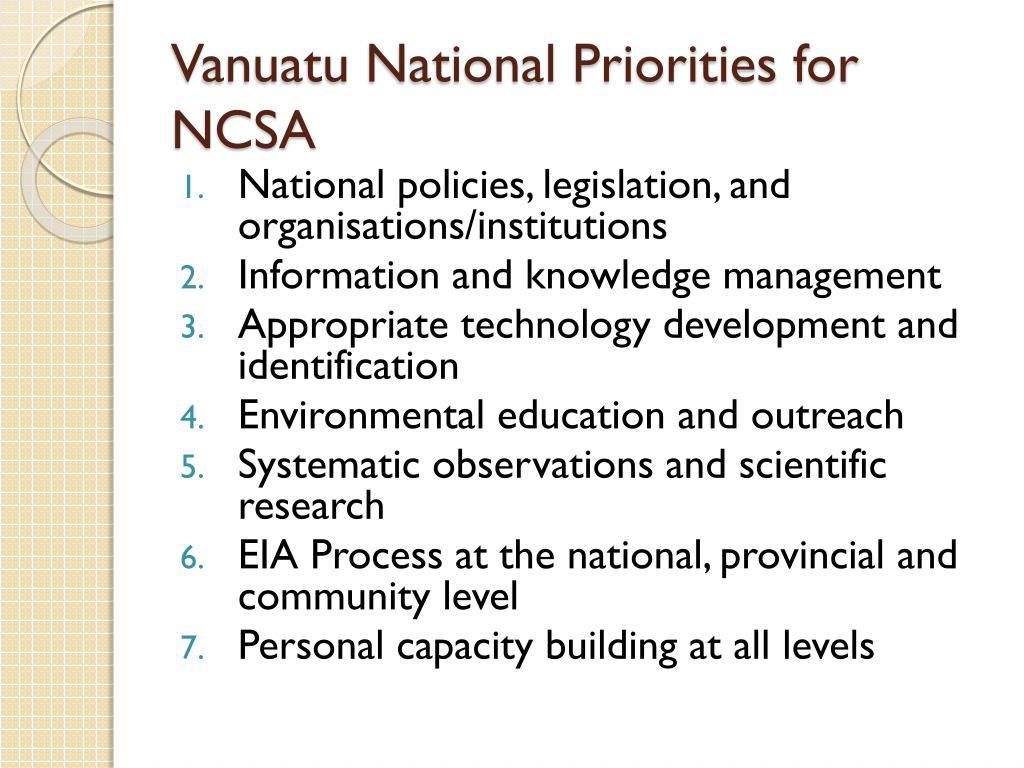 Vanuatu National Priorities for NCSA