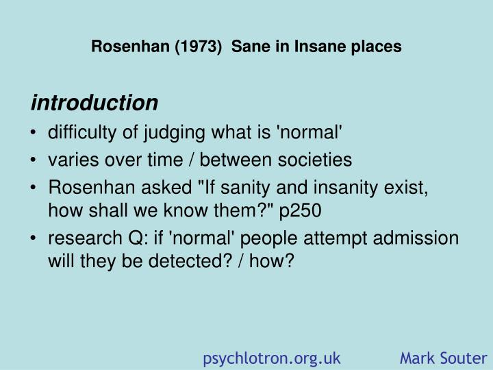 Rosenhan 1973 sane in insane places1