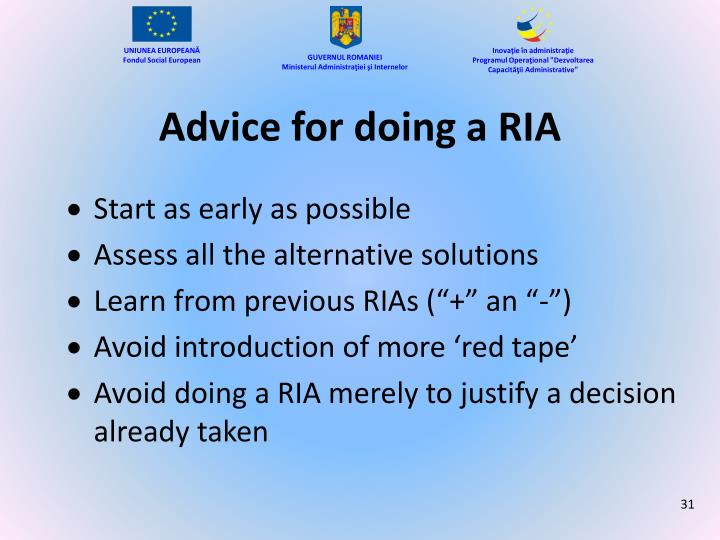 Advice for doing a RIA