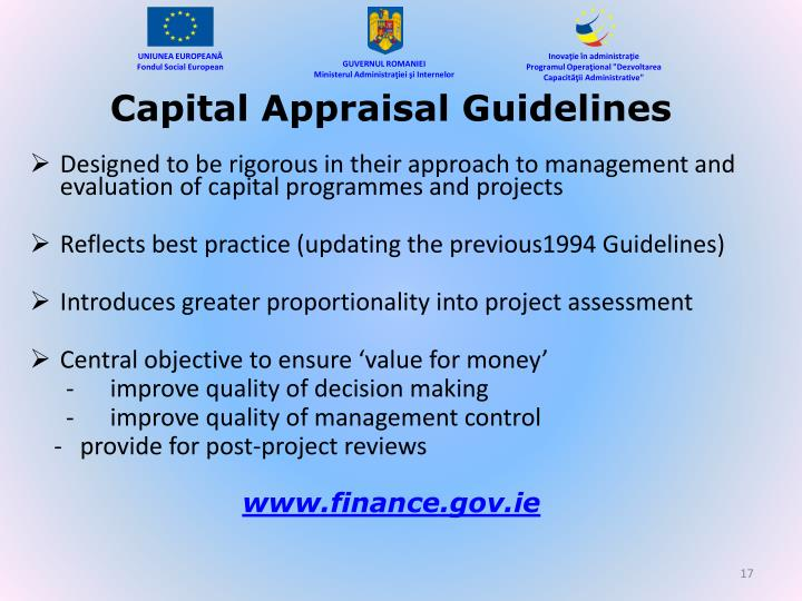 Capital Appraisal Guidelines