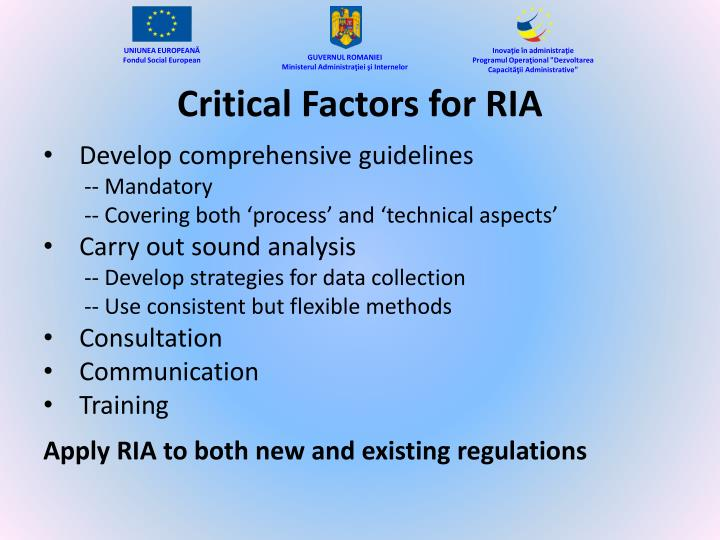 Critical Factors for RIA