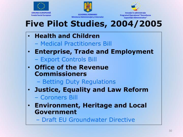 Five Pilot Studies, 2004/2005