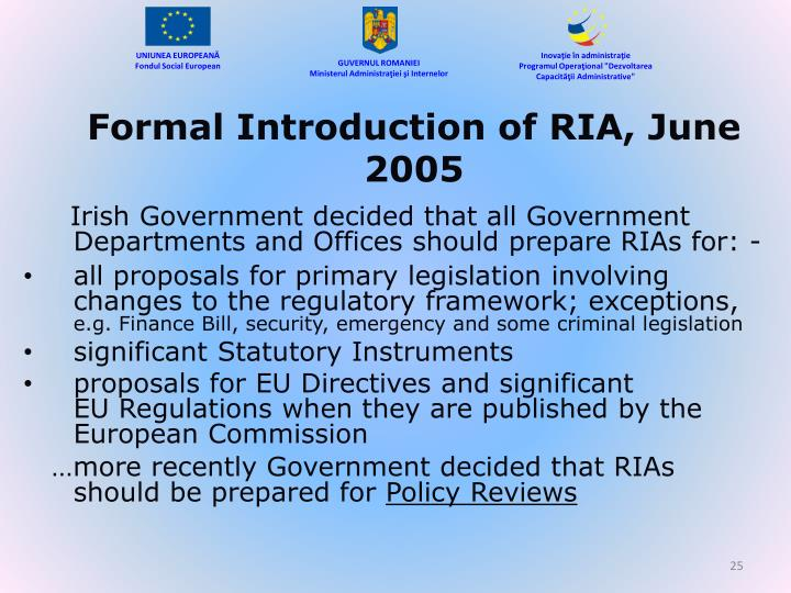 Formal Introduction of RIA, June 2005