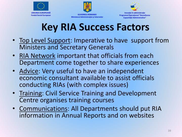 Key RIA Success Factors