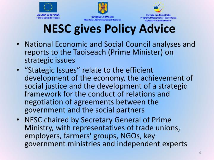 NESC gives Policy Advice