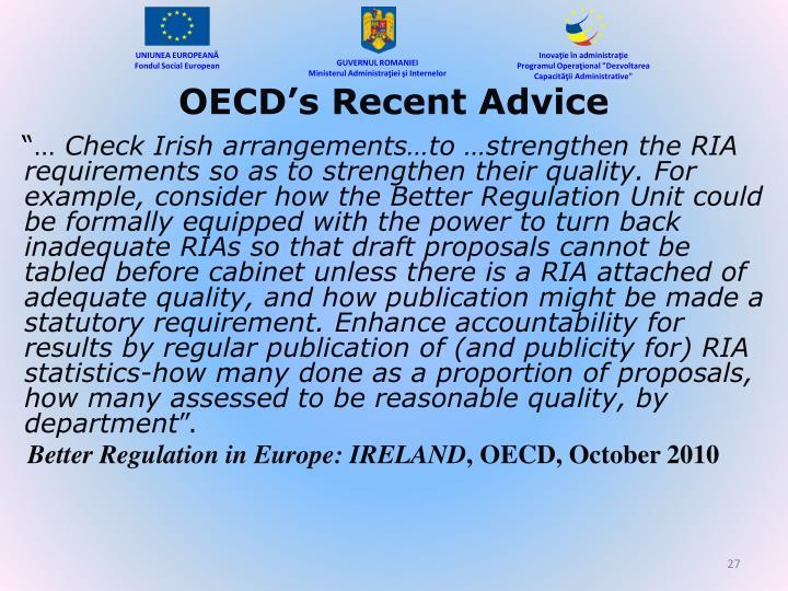 OECD's Recent Advice