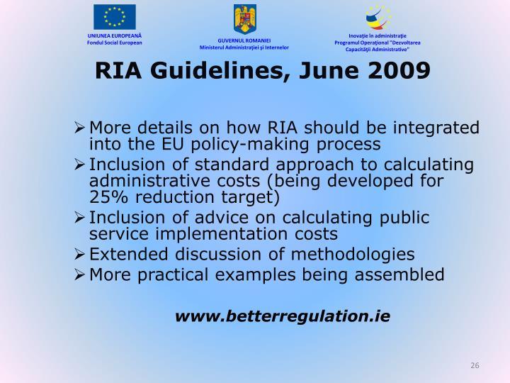 RIA Guidelines, June 2009