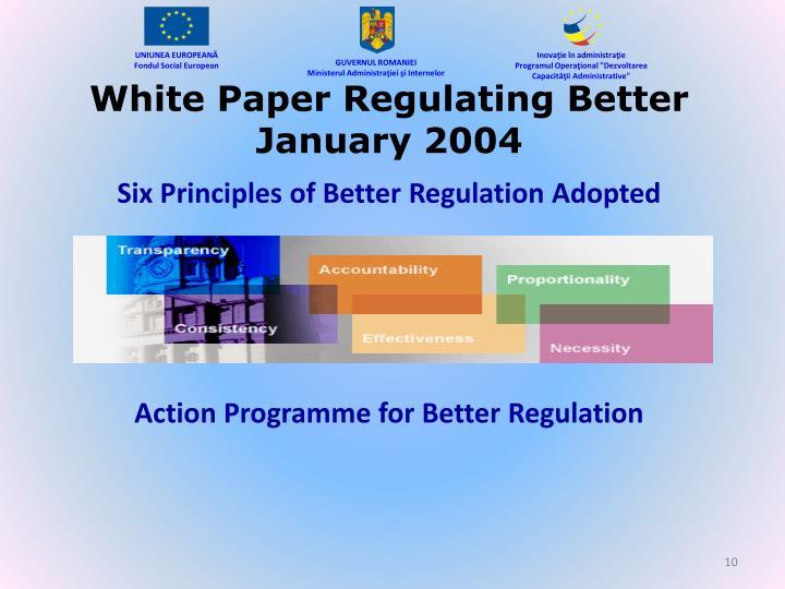 White Paper Regulating Better