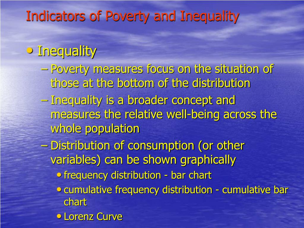 Indicators of Poverty and Inequality