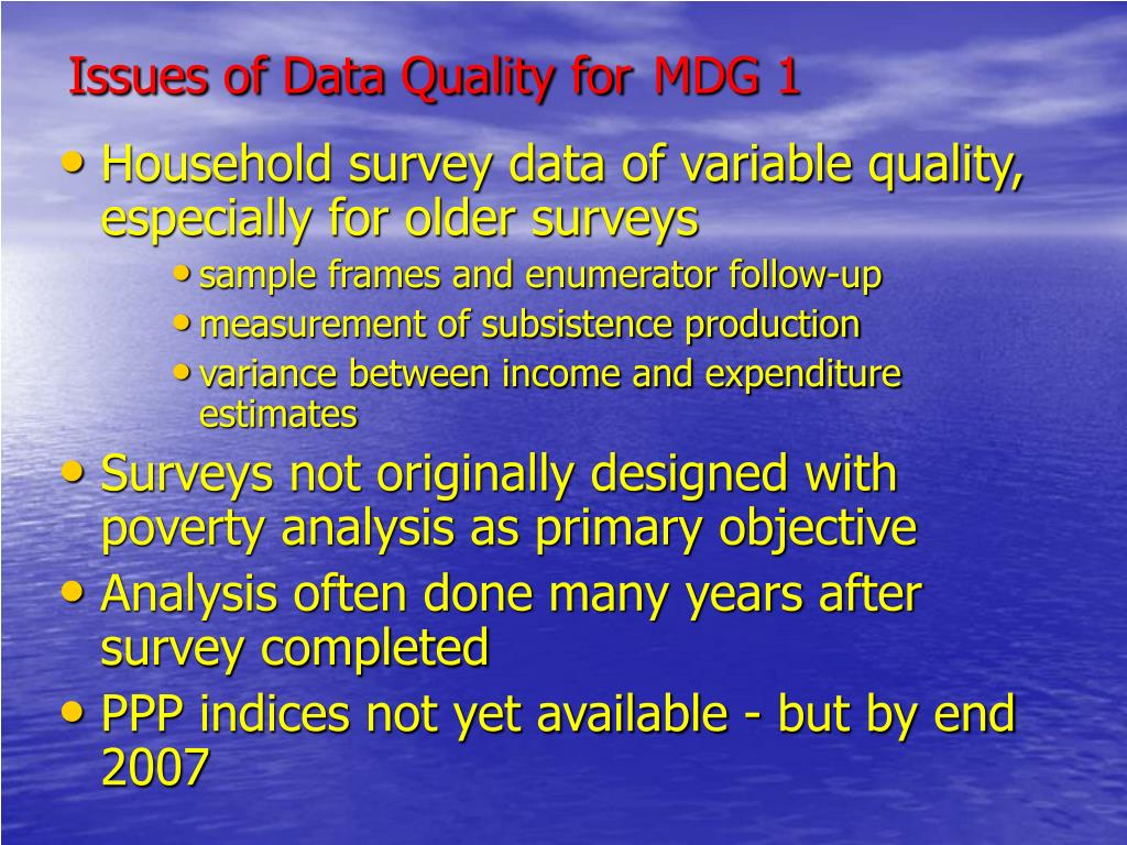 Issues of Data Quality for