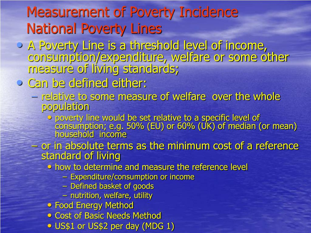 Measurement of Poverty Incidence