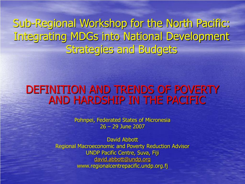 Sub-Regional Workshop for the North Pacific: