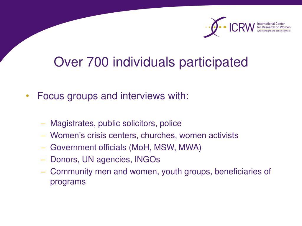 Over 700 individuals participated