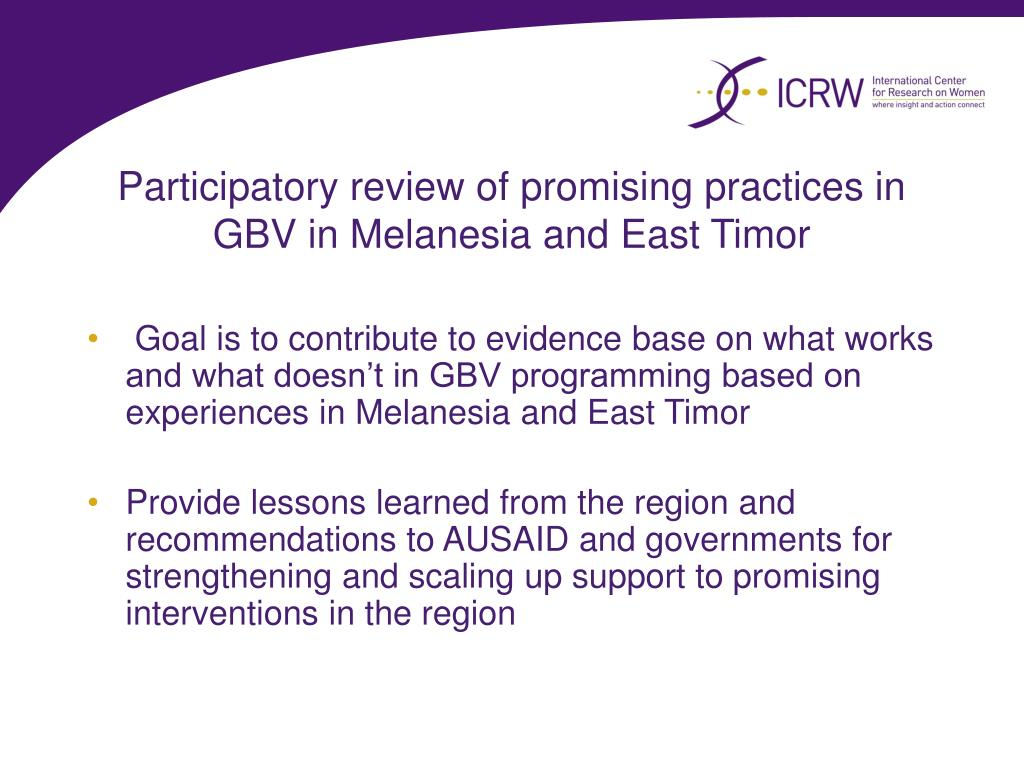 Participatory review of promising practices in GBV in Melanesia and East Timor