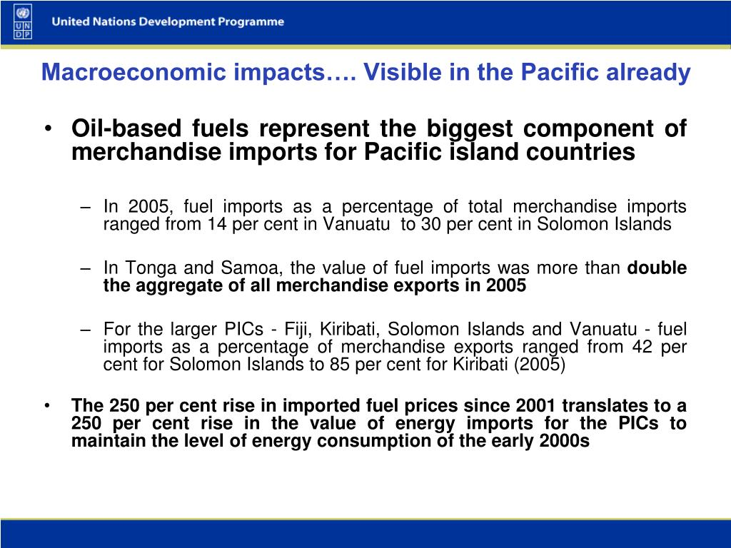 Oil-based fuels represent the biggest component of merchandise imports for Pacific island countries