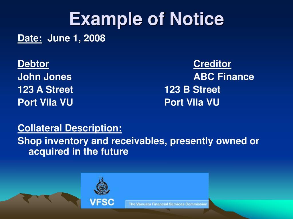 Example of Notice