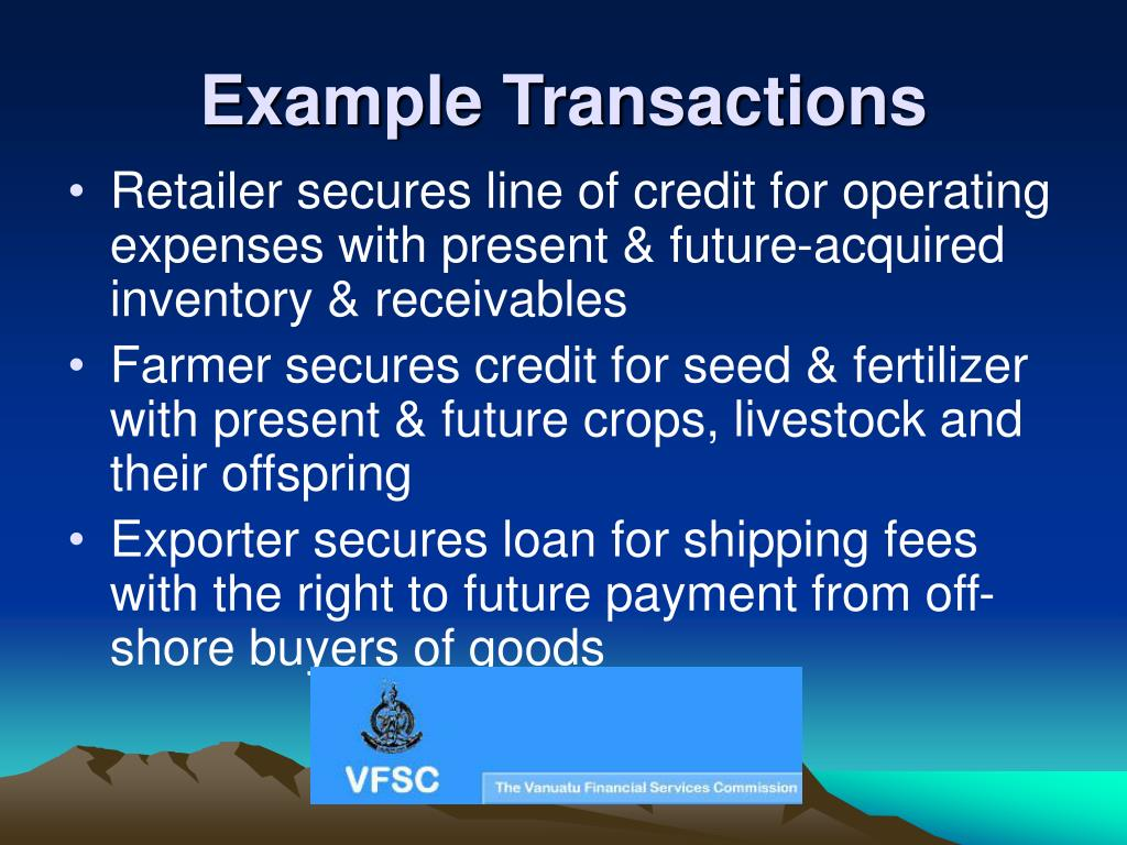 Example Transactions