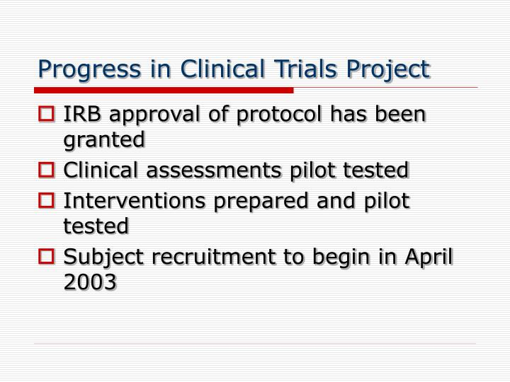 Progress in Clinical Trials Project