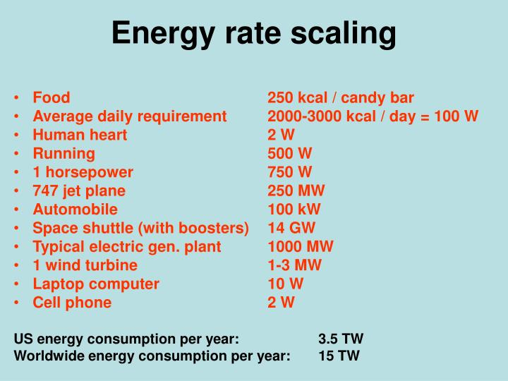 Energy rate scaling