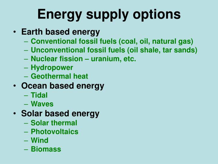Energy supply options