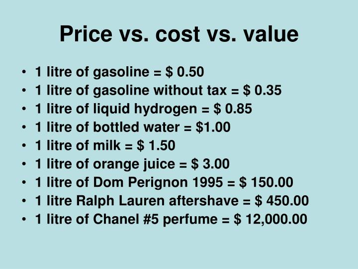 Price vs. cost vs. value