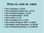 price vs cost vs value