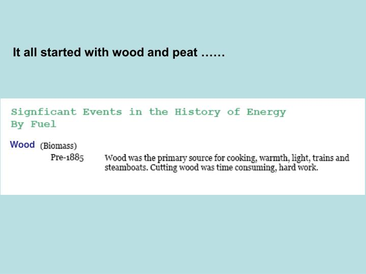 It all started with wood and peat ……