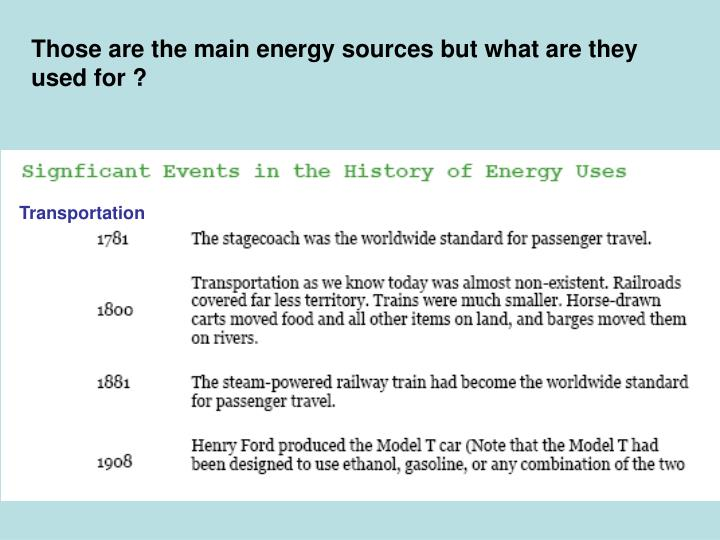Those are the main energy sources but what are they used for ?