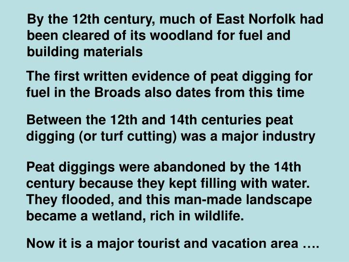 By the 12th century, much of East Norfolk had been cleared of its woodland for fuel and building materials