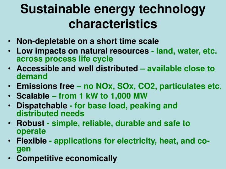 Sustainable energy technology