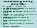 sustainable energy technology characteristics