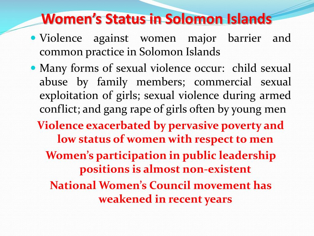 Women's Status in Solomon Islands