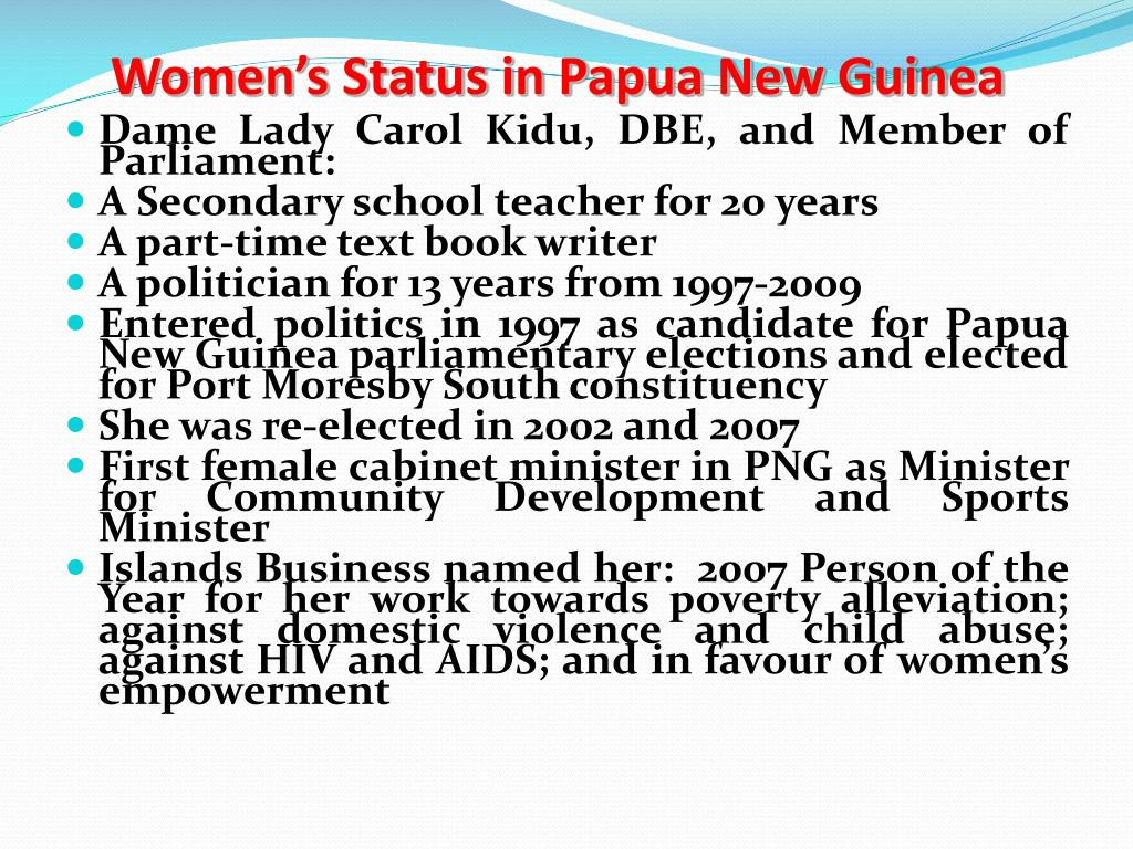 Women's Status in Papua New Guinea