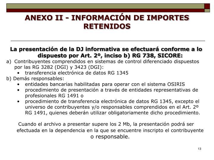ANEXO II - INFORMACIÓN DE IMPORTES RETENIDOS