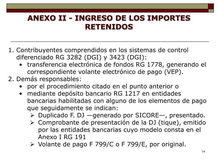 ANEXO II - INGRESO DE LOS IMPORTES RETENIDOS