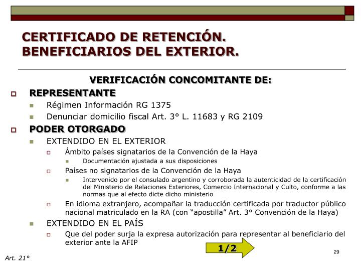 CERTIFICADO DE RETENCIÓN. BENEFICIARIOS DEL EXTERIOR.