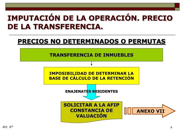 IMPUTACIÓN DE LA OPERACIÓN. PRECIO DE LA TRANSFERENCIA.