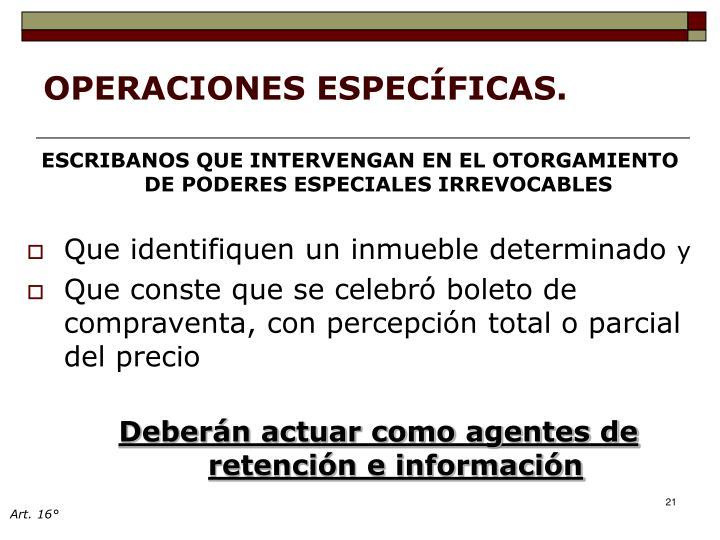 OPERACIONES ESPECÍFICAS.
