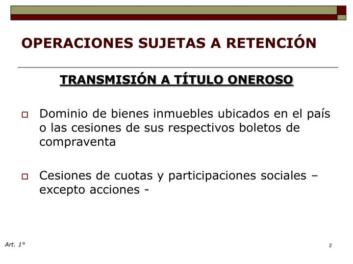 OPERACIONES SUJETAS A RETENCIÓN
