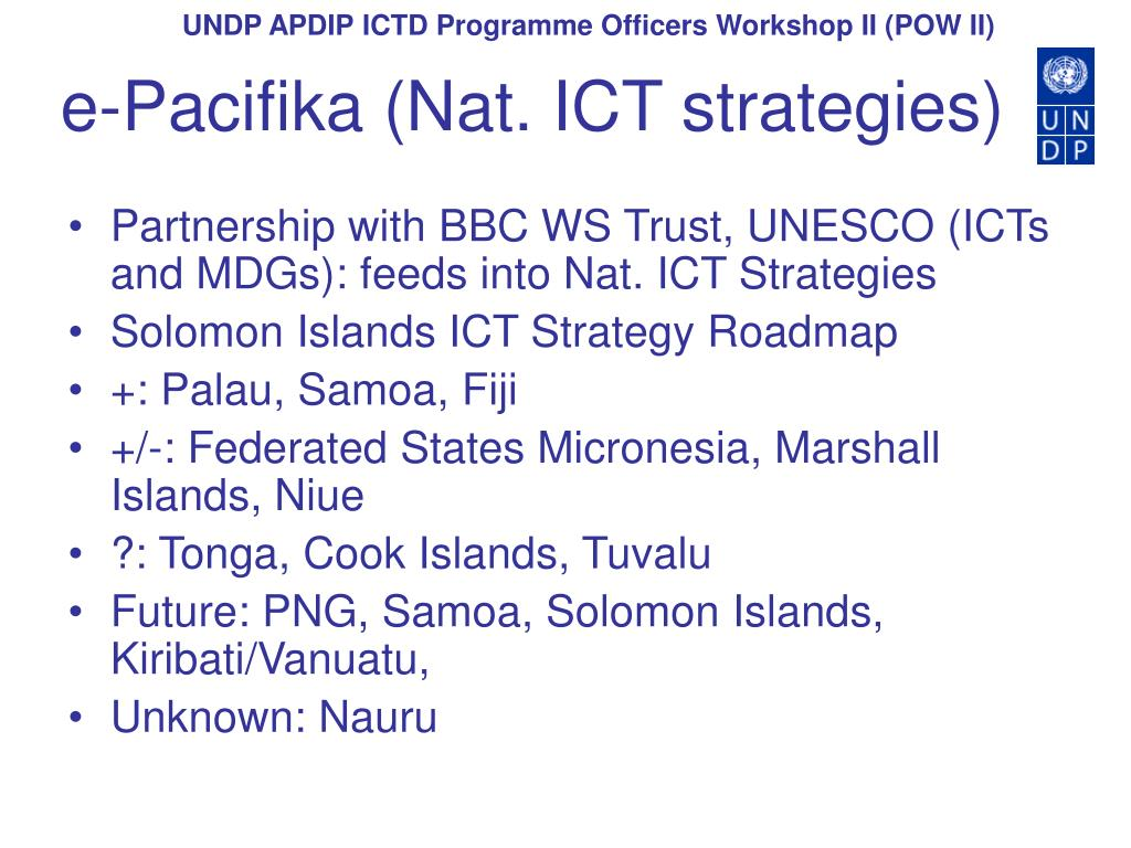 e-Pacifika (Nat. ICT strategies)